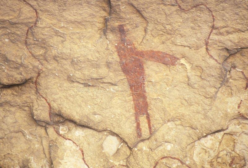 Arte della roccia dell'immagine grafica al parco storico dello stato delle seminole, TX fotografia stock libera da diritti