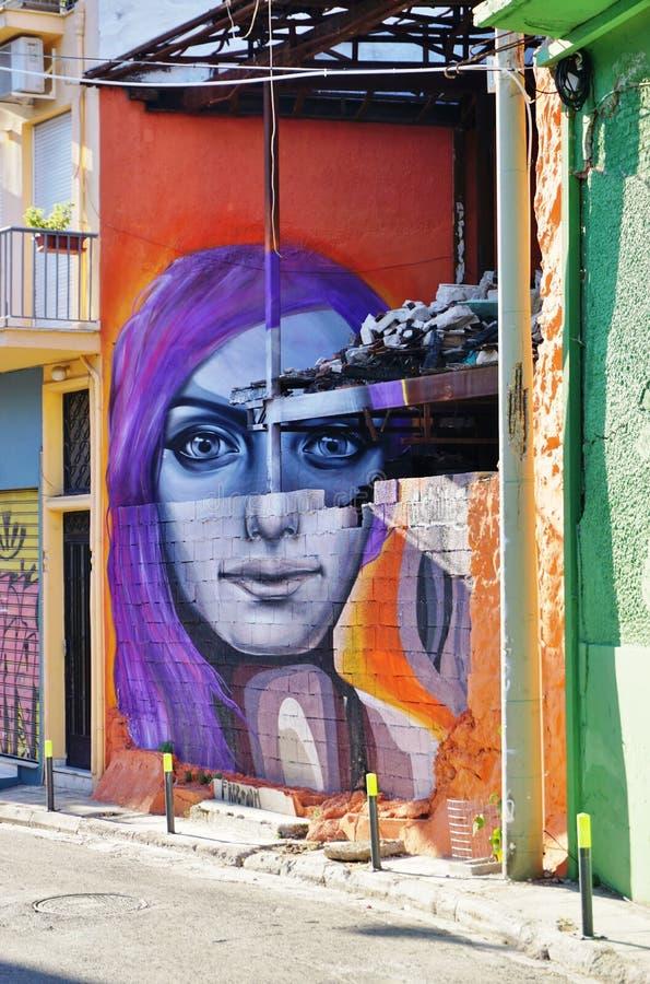 Arte della via dei graffiti da Achille a Atene, Grecia immagine stock