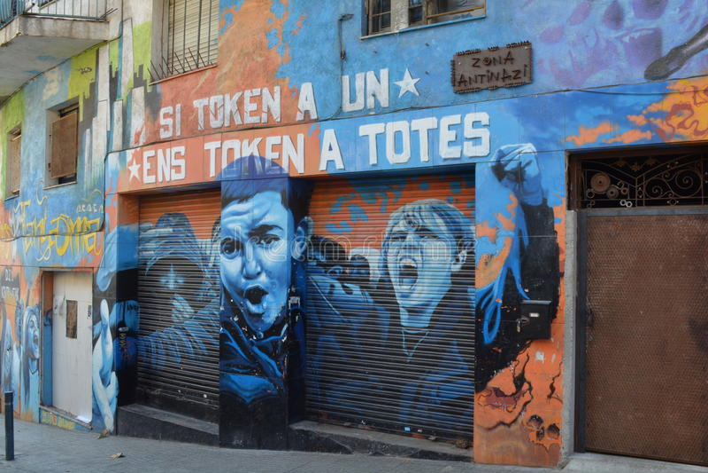 arte della via del Anti-fascista a Barcellona fotografia stock