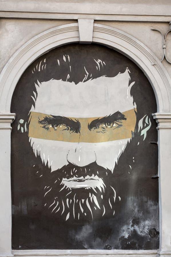 Arte della via nel distretto di Kazimierz a Cracovia, fotografia stock libera da diritti