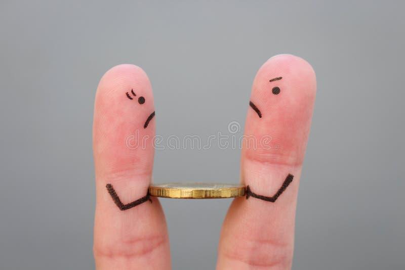 Arte delle dita della famiglia durante il litigio immagini stock libere da diritti