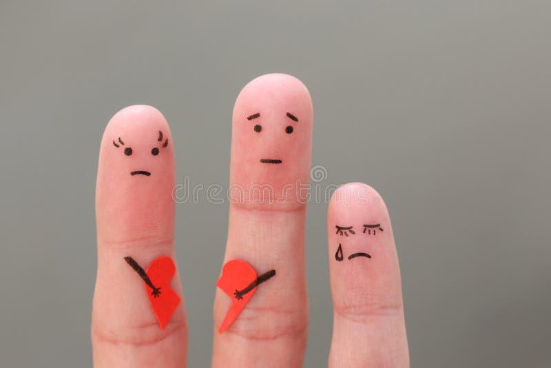 Arte delle dita della famiglia durante il litigio fotografie stock libere da diritti