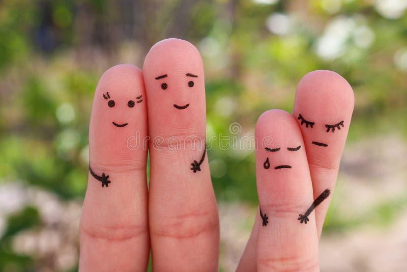 Arte delle dita della famiglia durante il litigio Il concetto dei genitori divorziati, bambino è rimanere con la mamma immagine stock