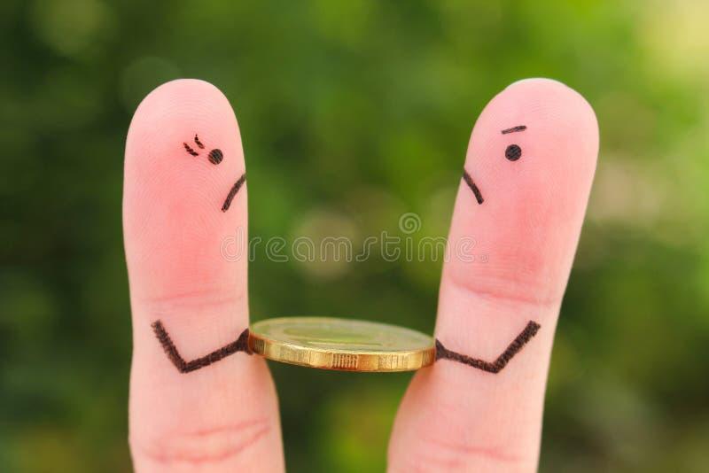 Arte delle dita della famiglia durante il litigio Il concetto dell'uomo e della donna non può dividere i soldi immagini stock libere da diritti