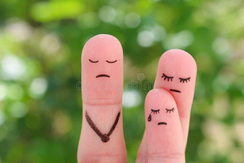 Arte delle dita della famiglia durante il litigio La madre di concetto non fa elasticità il bambino comunicare con il suo fathe fotografie stock libere da diritti