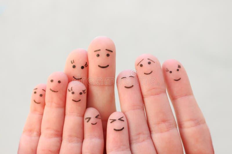 Arte delle dita della famiglia numerosa immagini stock