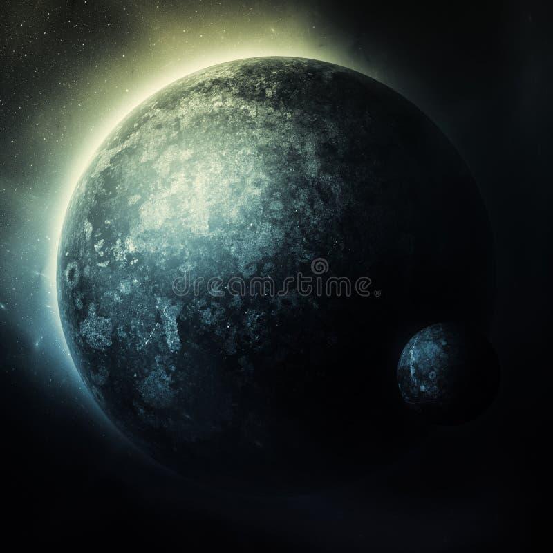 Arte dello spazio scuro con il pianeta royalty illustrazione gratis