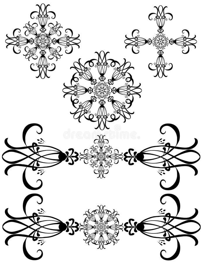 Arte detalhada extravagante das decorações ilustração royalty free
