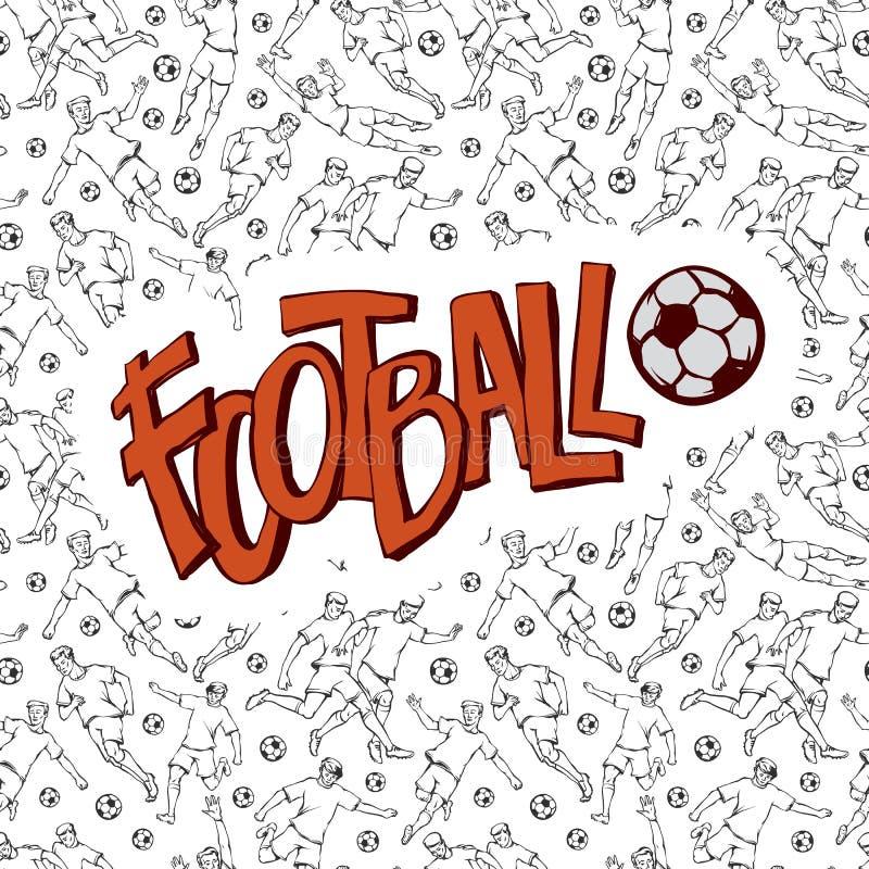 Arte di calcio di vettore con il campionato della palla L'iscrizione d'annata della stampa del contrassegno di stile di sport ha  illustrazione vettoriale