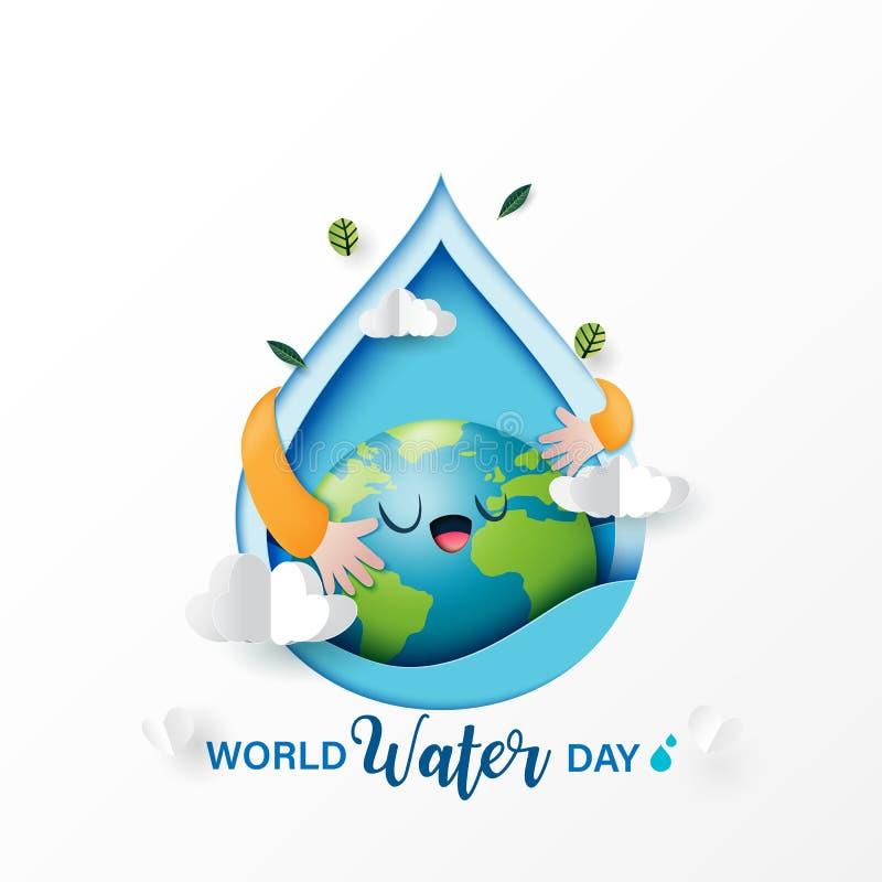 Arte di carta di amore la terra e conservare acqua per progettazione di massima di conservazione dell'ambiente e di ecologia illustrazione di stock