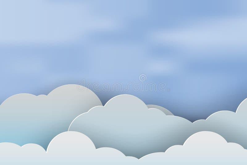 Arte di carta di cloudscape bella con il fondo del cielo blu, vecto illustrazione di stock
