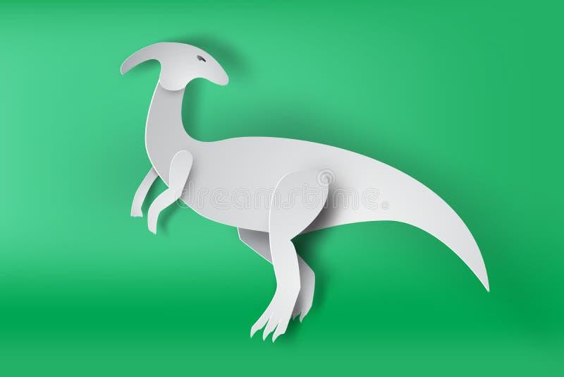 Arte di carta del dinosour di Parasaurolophus sul vettore verde del fondo royalty illustrazione gratis