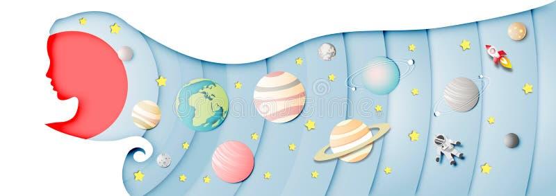 Arte di carta del fondo del sistema solare nella testa di signora e nel vettore astratto di progettazione illustrazione vettoriale