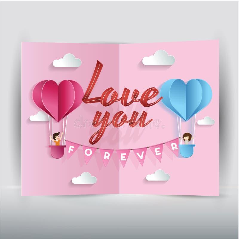 Arte di carta del giorno del ` s del biglietto di S. Valentino sul concetto di amore del cuore del pallone royalty illustrazione gratis