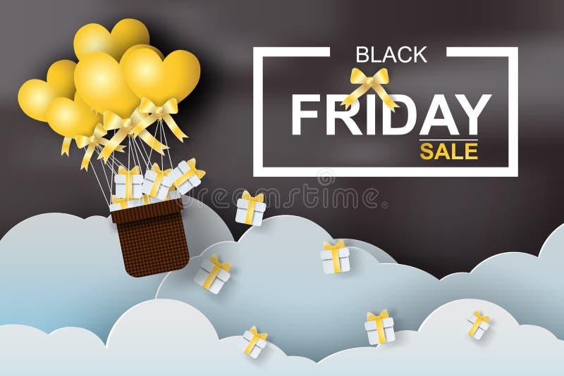 Arte di carta del pallone nero di venerdì con cuore, giallo, il nero, vettore illustrazione di stock