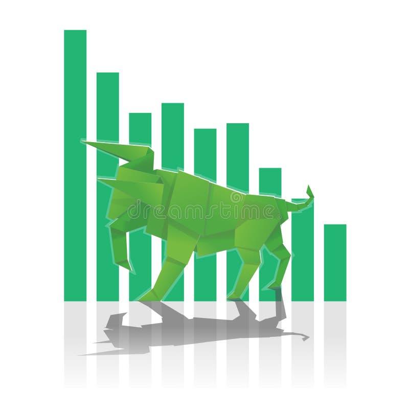 Arte di carta del toro con l'istogramma verde fotografia stock libera da diritti