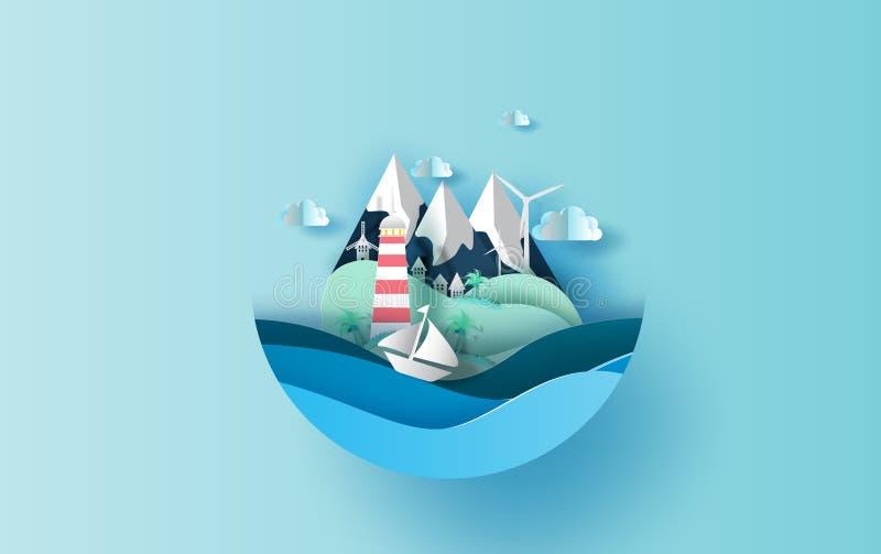 Arte di carta del viaggio dell'illustrazione nel concetto di stagione estiva di vacanza di festa, progettazione grafica per stile illustrazione vettoriale