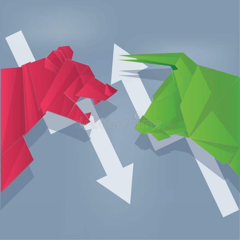 Arte di carta dell'orso e del toro verde e rossa con la freccia immagini stock