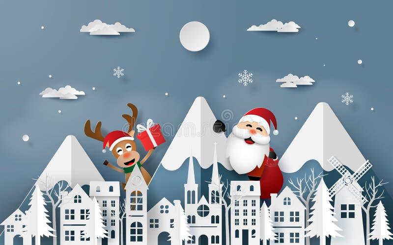 Arte di carta, stile del mestiere di Santa Claus e renna che viene alla città illustrazione di stock