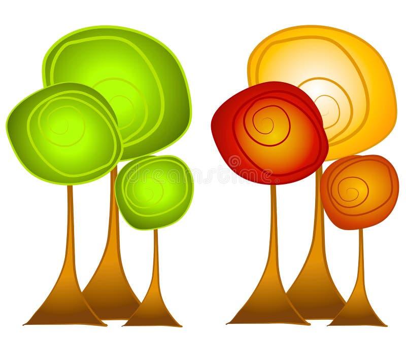 Arte di clip degli alberi di estate e di caduta illustrazione di stock
