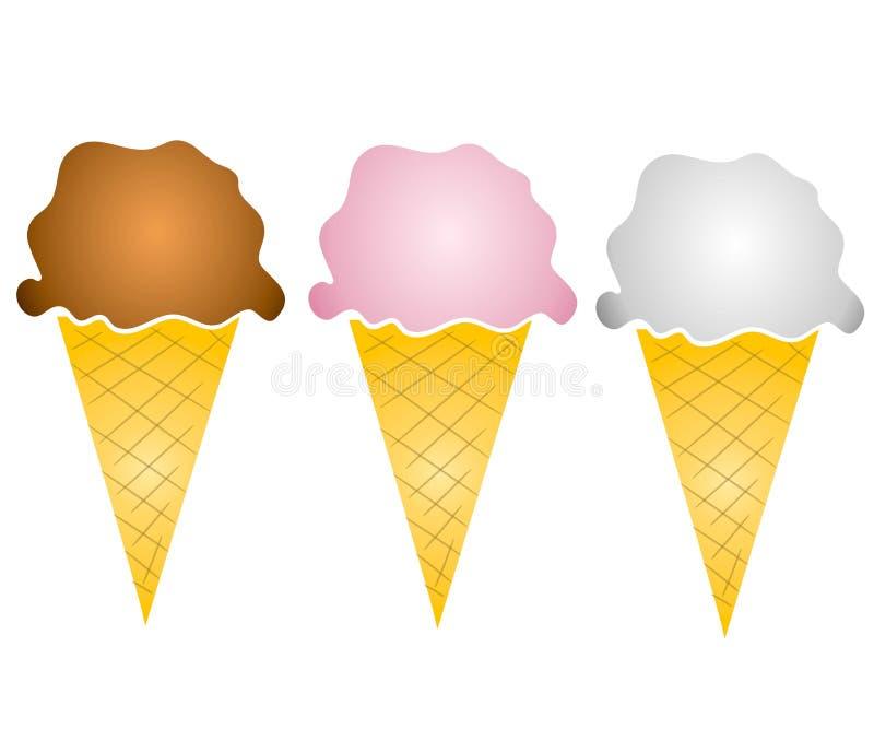 Arte di clip dei 3 coni di gelato royalty illustrazione gratis