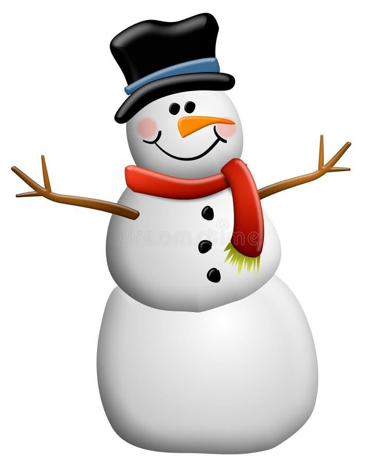 Arte di clip del pupazzo di neve isolata illustrazione vettoriale