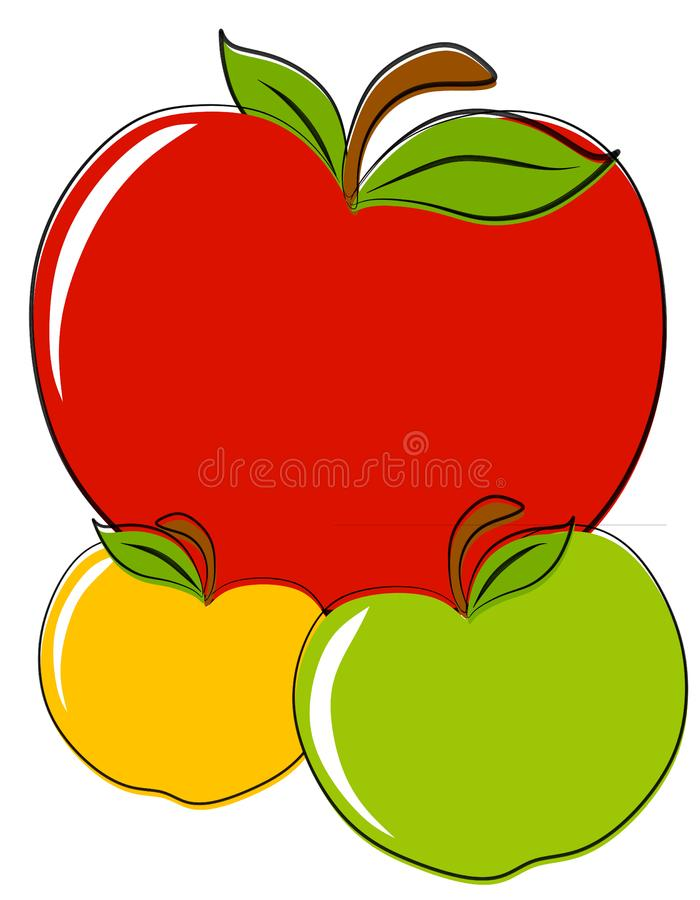 Clipart delle mele di giallo di Red Green fotografie stock