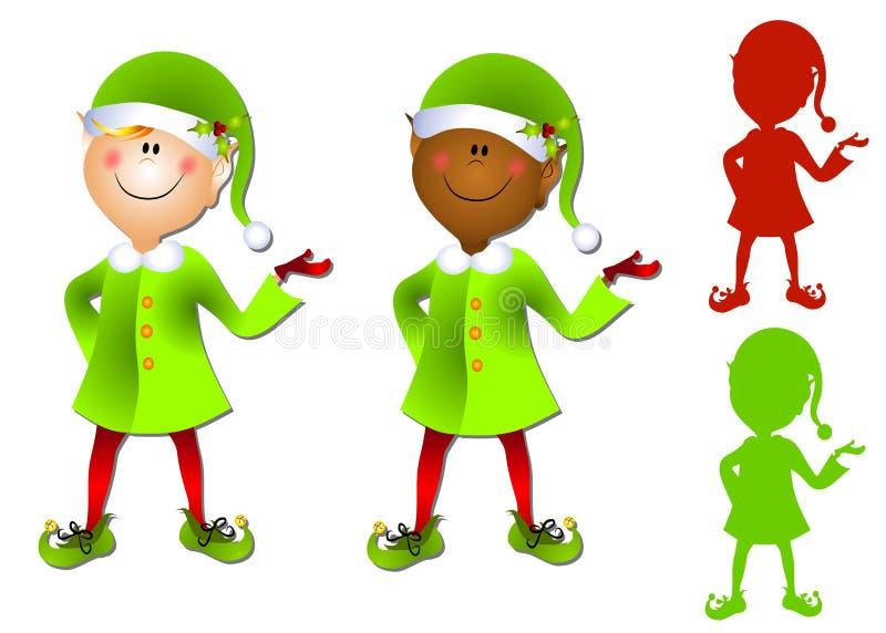 Arte di clip sorridente dell'elfo della Santa del fumetto fotografia stock libera da diritti