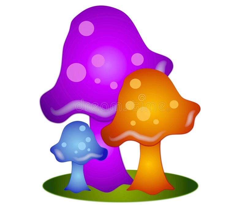Arte di clip variopinta dei funghi 3 royalty illustrazione gratis