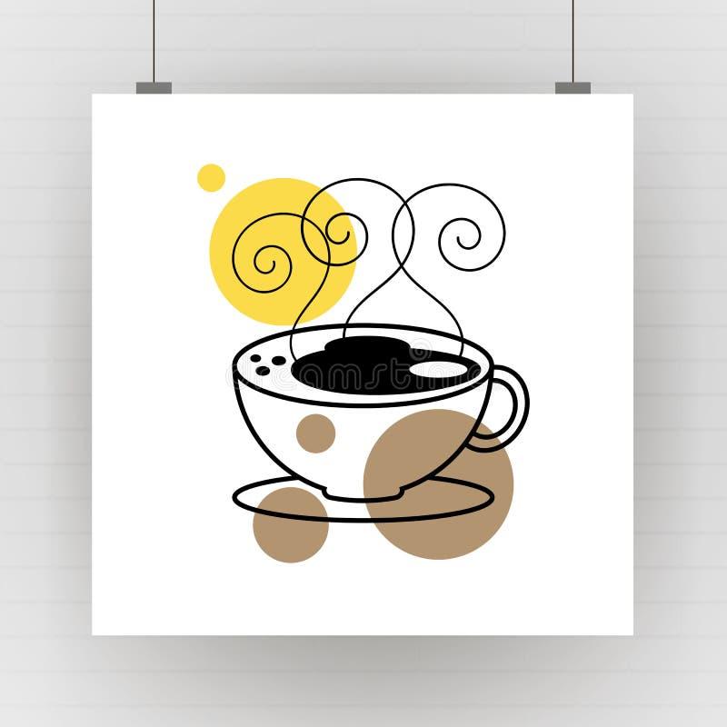 Arte di disegno della tazza da caffè calda Illustrazione di vettore illustrazione vettoriale