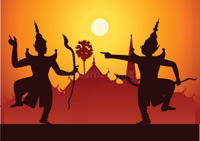 Arte di dramma di ballo tradizionale di classico tailandese mascherato Tailandese ancien illustrazione vettoriale