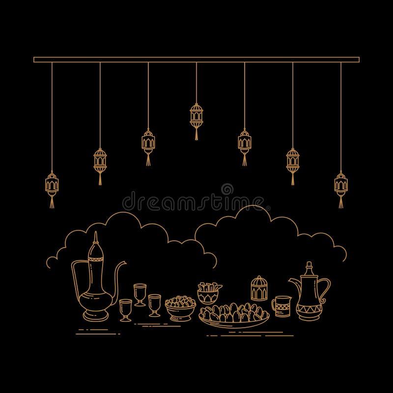 Arte di Eid Al-Fitr Celebration Line illustrazione di stock