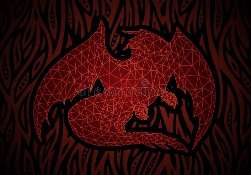 Arte di fantasia con il drago rosso nel fuoco illustrazione vettoriale