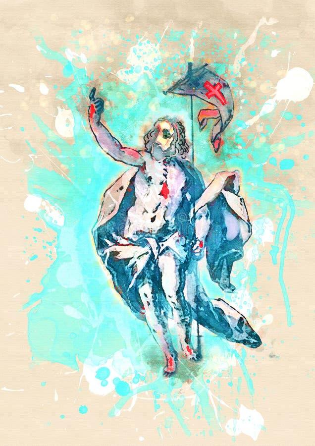 Arte di Jesus Christ Contemporary di resurrezione royalty illustrazione gratis
