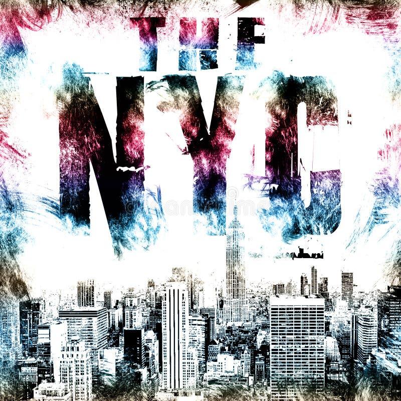 Arte di New York Stile grafico NYC della via Stampa alla moda di modo Abito del modello, carta, etichetta, manifesto emblema, bol illustrazione di stock