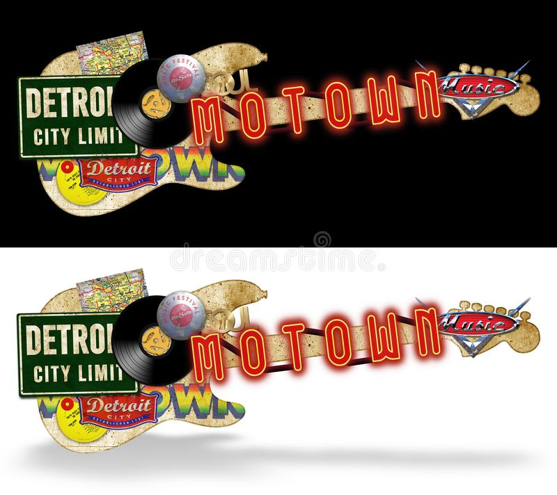 Arte di piega d'annata del materiale illustrativo di Motown illustrazione di stock