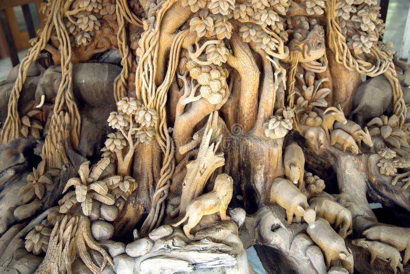 Arte di scultura di legno della Tailandia fotografia stock