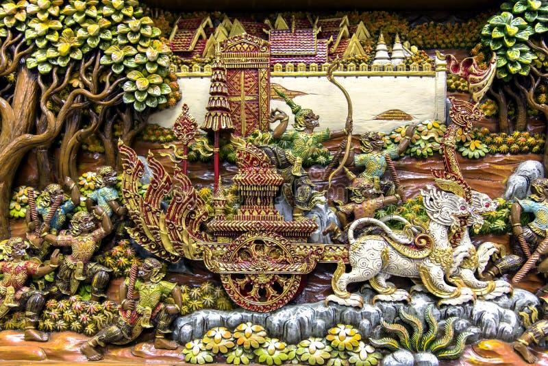 Arte di scultura di legno della Tailandia immagine stock