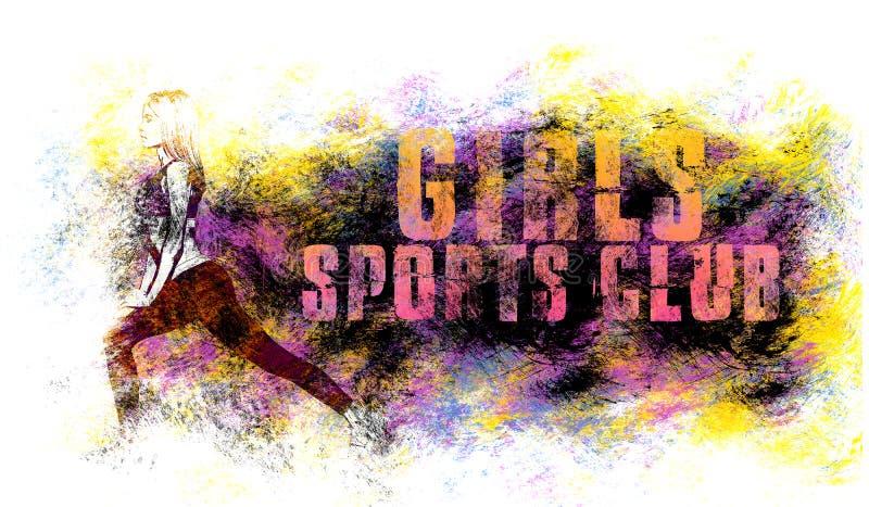 Arte di sport della ragazza Motivazione di forma fisica Stile grafico di sport Illustrazione di sport delle ragazze Stampa alla m illustrazione di stock