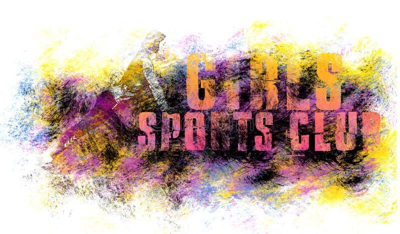 Arte di sport della ragazza Motivazione di forma fisica Stile grafico di sport Illustrazione di sport delle ragazze Stampa alla m illustrazione vettoriale