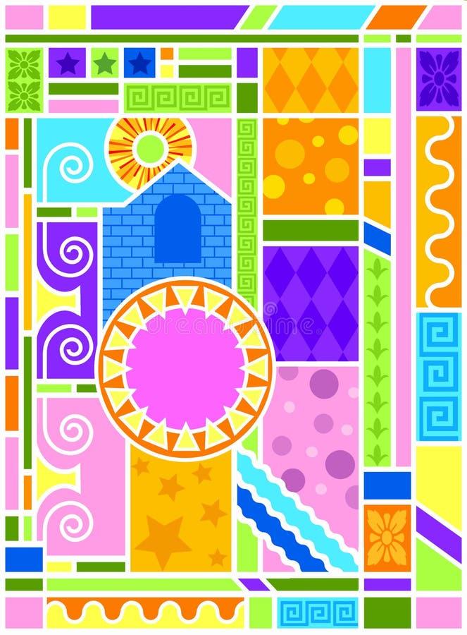 Arte di vetro macchiato di Arte-deco illustrazione di stock