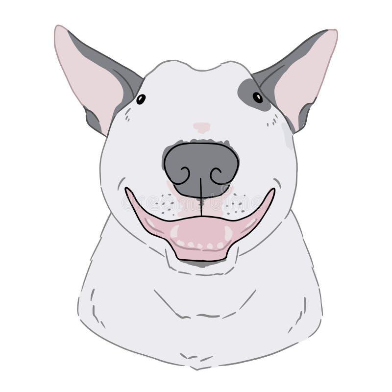 Arte di vettore del ritratto di bull terrier su fondo bianco Illustrazione disegnata a mano della testa di cane sveglia del fumet illustrazione di stock