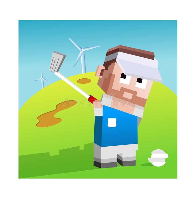 Arte di vettore dell'illustrazione del giocatore di golf di Lego illustrazione di stock