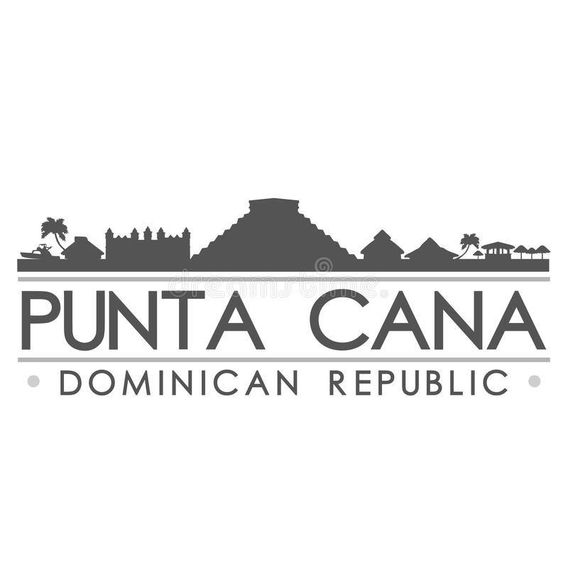 Arte di vettore della città di progettazione della siluetta di Punta Cana illustrazione vettoriale