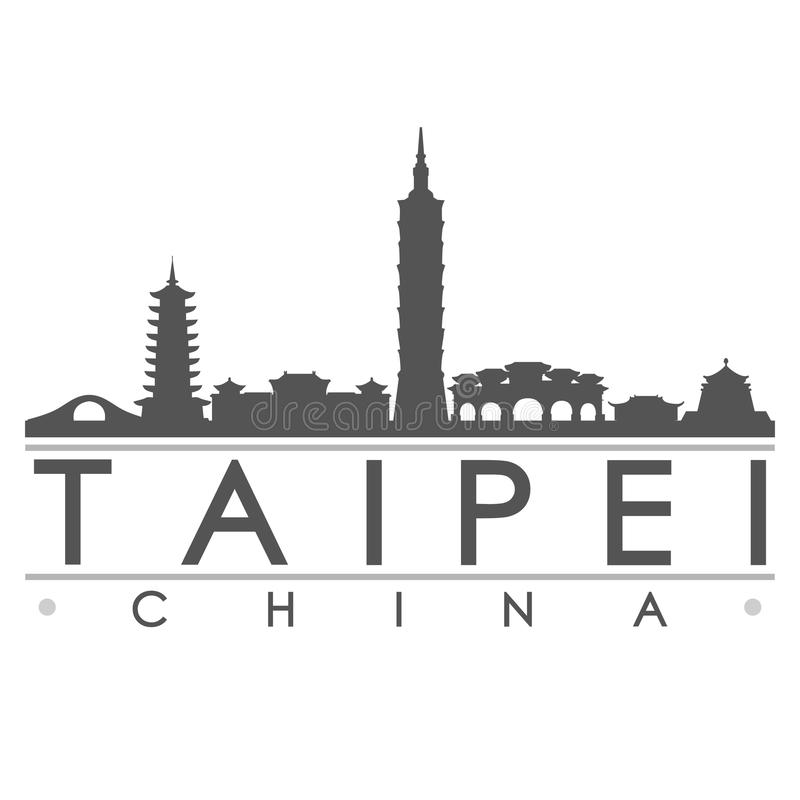 Arte di vettore della città di progettazione della siluetta di Taipei illustrazione di stock