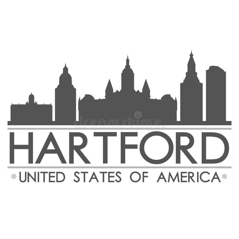 Arte di vettore della città di progettazione di simbolo dell'orizzonte di Hartford illustrazione di stock
