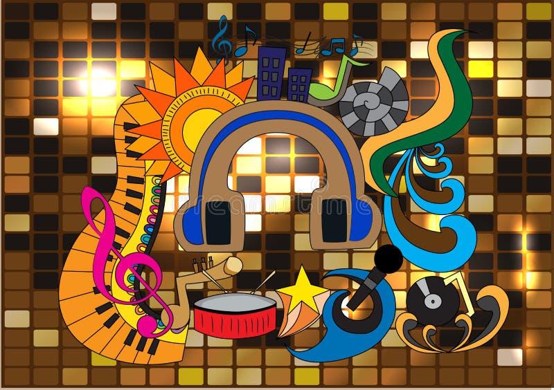 Arte di vettore di scarabocchio di musica immagine stock libera da diritti