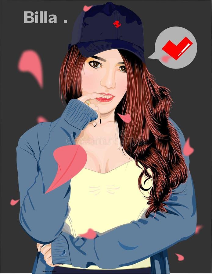 Arte di vettore & x22; una ragazza sexy che indossa un maglione e un hat& blu x22; royalty illustrazione gratis