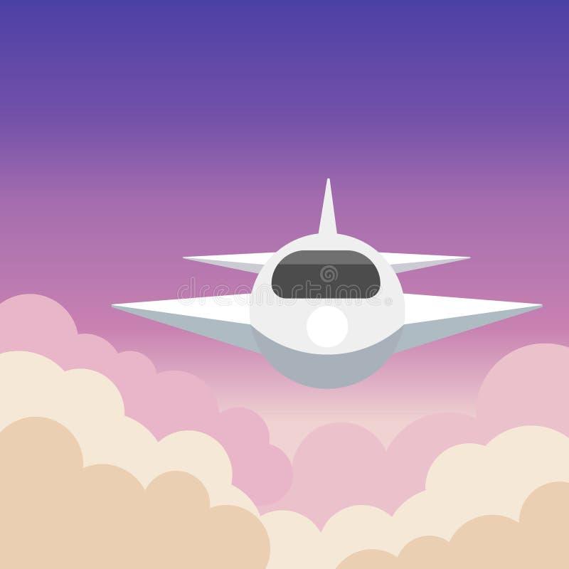 Arte di vista aerea dell'aeroplano con la bella illustrazione di vettore del fondo illustrazione di stock