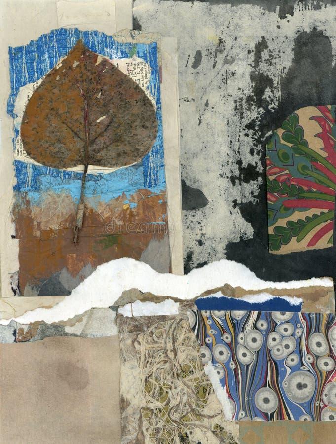 Arte di Wabi Sabi Texture Abstract Painting Collage illustrazione vettoriale